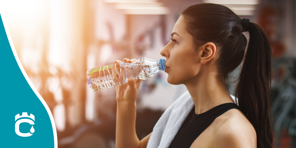 gym girl with water