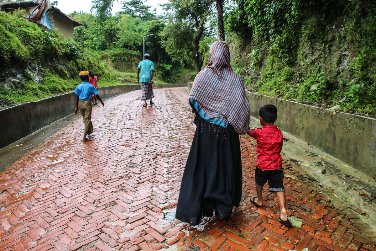 women and child walking