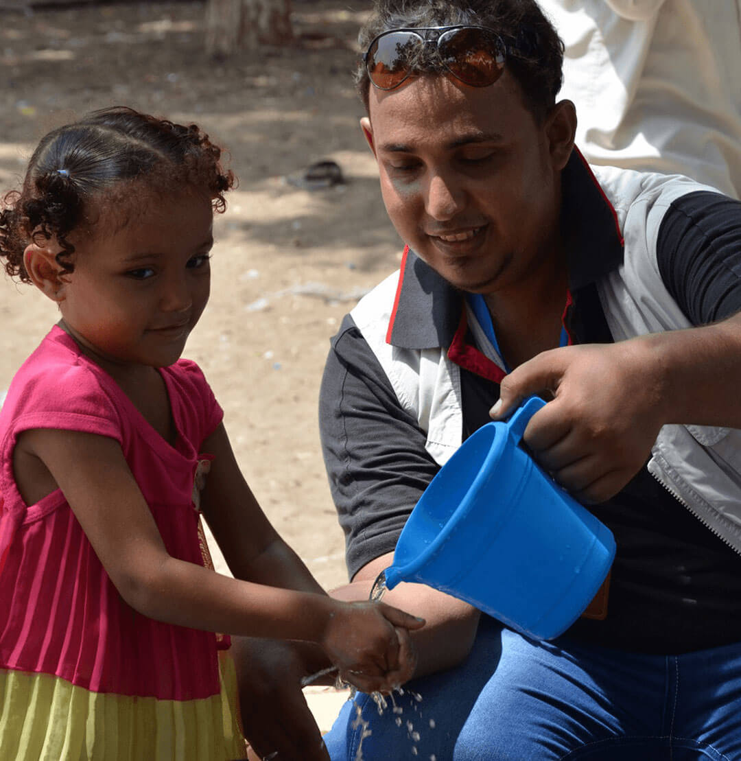 Our health team in Yemen teaches children about good hygiene – helping prevent the spread of disease.